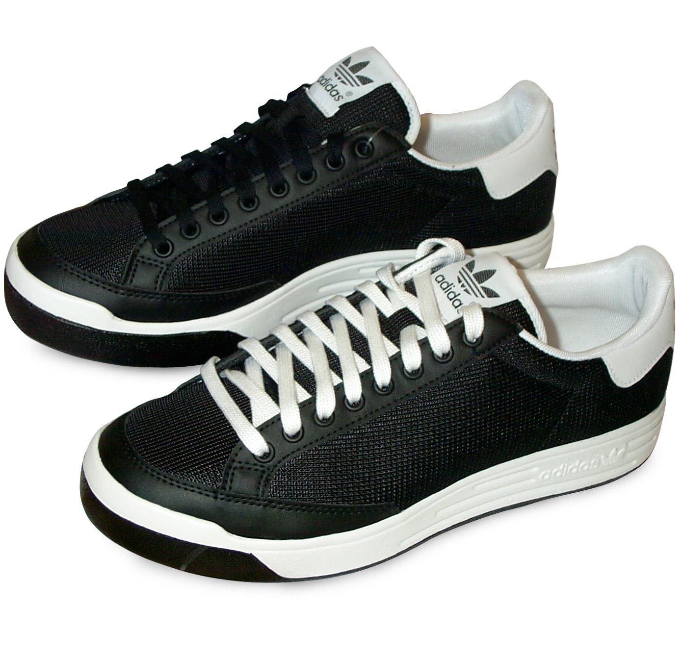 adidas rod laver tennis shoes black white world footbag