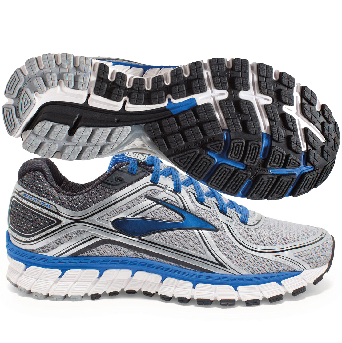 Brooks Adrenaline GTS 16 Mens Silver/Blue Electric