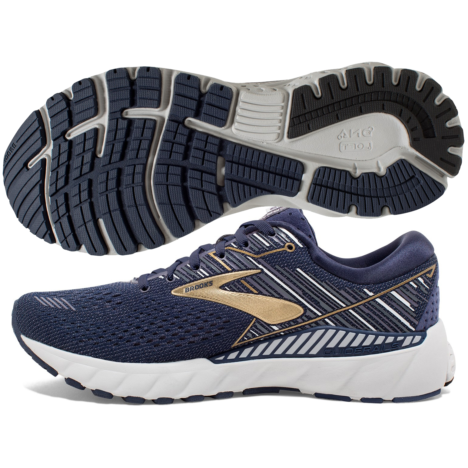 cc88dc33409fa Brooks Adrenaline GTS 19 Men s Navy Gold Grey