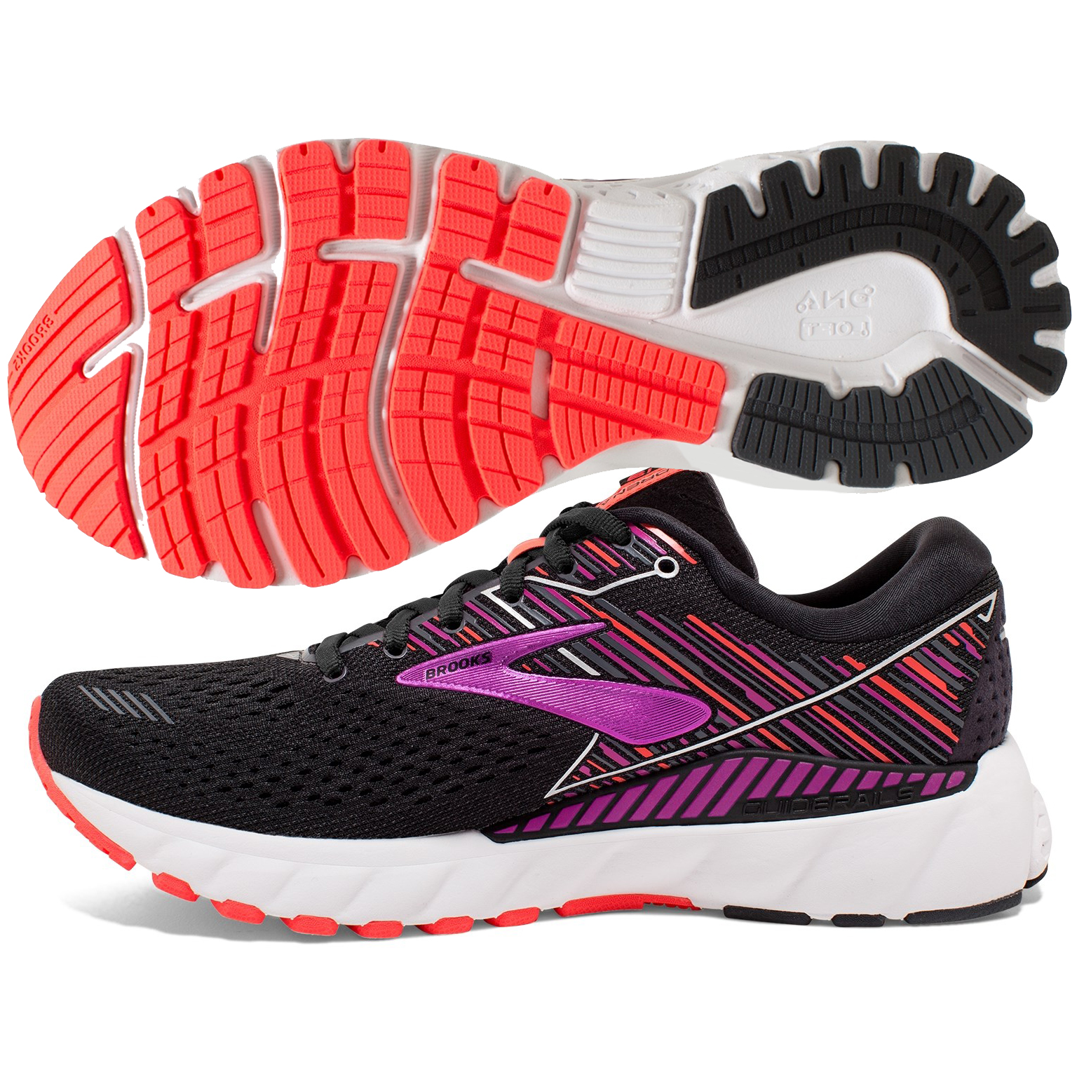 f553a8ac035ef Brooks Adrenaline GTS 19 Women s Black Purple Coral