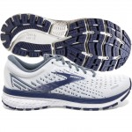 Brooks Ghost 13 mens White grey deep cobalt
